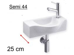 Hand basin, basin in half circle, depth 25 cm, tap fittings on the right - SEMI 44 Benesan
