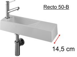 Cloakroom basin design, white mineral resin, extra fine, depth 15 cm, tap left - RECTO 50 B Benesan