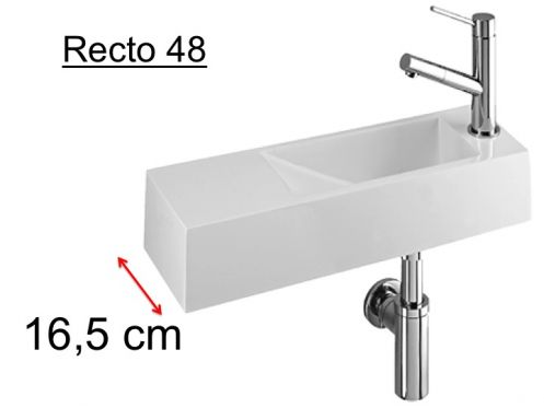 Cloakroom basin design, white mineral resin, extra fine, depth 17 cm, fitting right, RECTO 48 Benesan