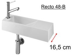 Cloakroom basin design, white mineral resin, extra fine, tap left depth 17 cm,  RECTO 50-B Benesan