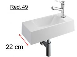 cloakroom basin mineral resin depth 22 cm, fitting right - RECTO 49 Benesan
