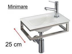 White glass washbasin, stainless steel stand, width 25 cm - MINIMARE Benesan