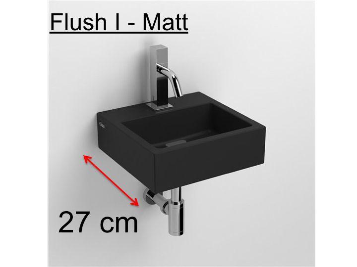 Wash Hand Basin Mat Black Ceramics, 27cm Flush 1 Clou