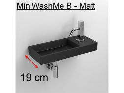 Hands washbasin, 19 x 45 cm, in matt anthracite ceramic, tap on the right - MiniWashMe CLOU