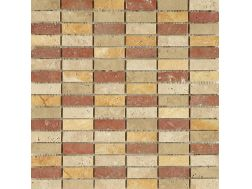 Mini Teseo Travertino Mix, Mosaic marble tile 30,5x30,5 cm. Boxer