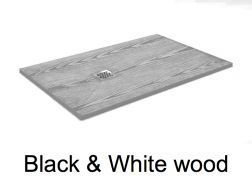 Shower tray 105 cm in resin, small size and big size, extra thin, effect wood  black/white