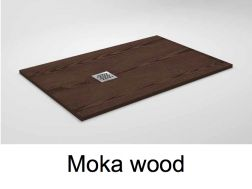 Shower tray 135 cm in resin, small size and big size, extra thin, effect wood  mocha