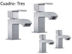 Single lever washbasin mixer,  cuadro-tres 70 mm, with open cascade spout: chrome finish