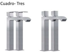 Single lever washbasin mixer,  cuadro-tres 220 mm, with open cascade spout: chrome finish