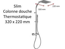 Wall thermostatic shower mixer Slim-tres, fixed shower head 220x320