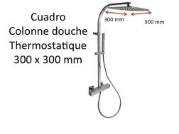 Wall thermostatic shower mixer CUADRO-tres, fixed shower head 300x300