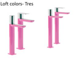 Single lever washbasin mixer with base extension, loft Colors Tres, pink finish